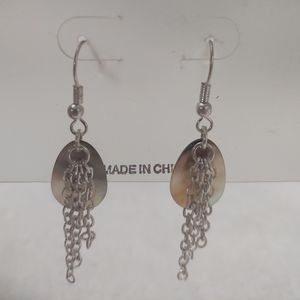 Abalone Teardrop and Chain Earrings NWT